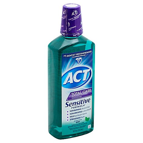 ACT Total Care Mouthwash Anticavity Fluoride Sensitive Formula Mint - 18 Fl. Oz.