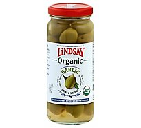Lindsay Olives Green Greek 100% Organic Stuffed With Garlic - 6 Oz