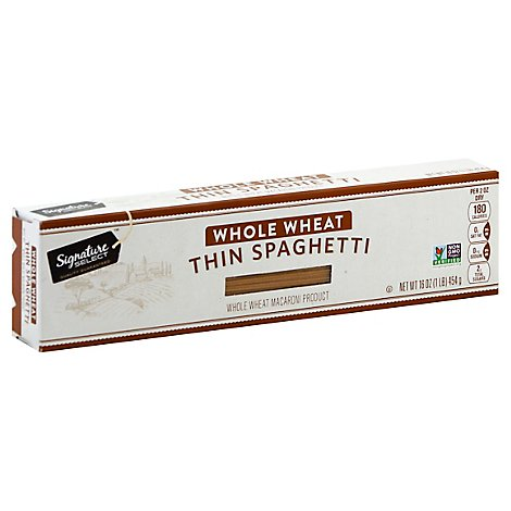 Signature SELECT Pasta Whole Wheat Spaghetti Thin - 16 Oz