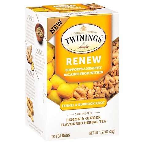 Twinings Herbal Tea Renew Fennel & Burdock Root Lemon & Ginger 18 Count - 1.27 Oz