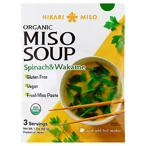Hikari Organic Instant Miso Soup Spinach 3p - 1.7 Oz