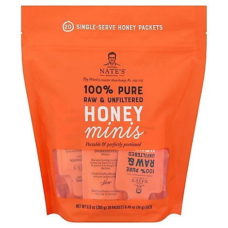 Nature Nates Honey Minis 100% Pure Raw Unfiltered 20 Count - 9.8 Oz