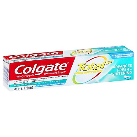 Colgate Total SF Toothpaste Gel Advanced Fresh + Whitening - 5.1 Oz