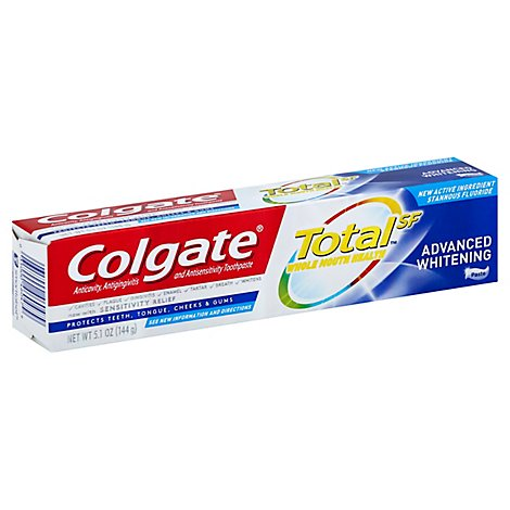 Colgate Total SF Toothpaste Whole Mouth Clean Advanced Whitening - 5.1 Oz