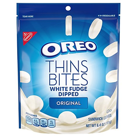 OREO Thin Bites Cookies White Fudge 1x6. - 6.4 Oz
