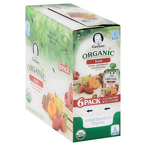 Gerber Organic 2nd Foods Baby Food Pears Peaches & Strawberries - 6-3.5 Oz