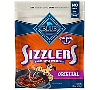 BLUE Sizzlers Dog Treats Bacon Style Original Super Size - 15 Oz