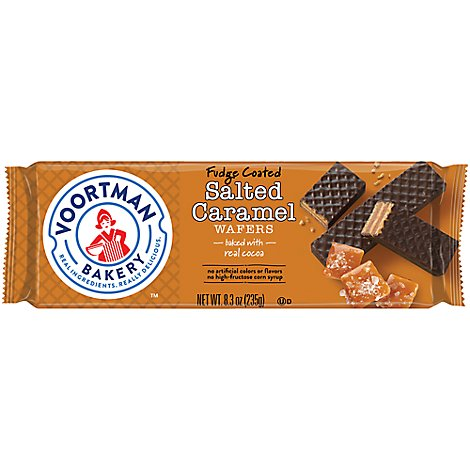 Voortman Bakery Wafers Fudge Coated Salted Caramel - 8.3 Oz