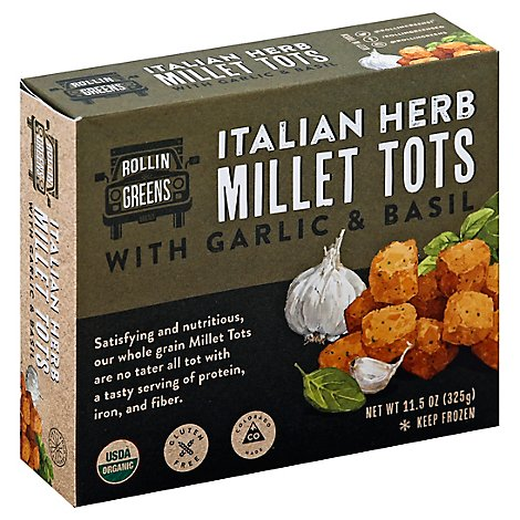 RollinGreens Millet Tots Italian Herb With Garlic & Basil - 11.5 Oz