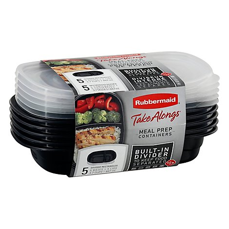 Rubbermaid Take Alongs Container Meal Prep Built In Divider - 10 Count