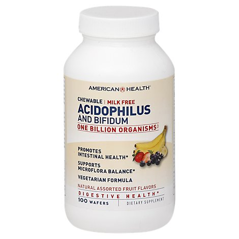 American Health Dietary Supplement Chewable Wafers Acidophilus and Bifidum - 100 Count