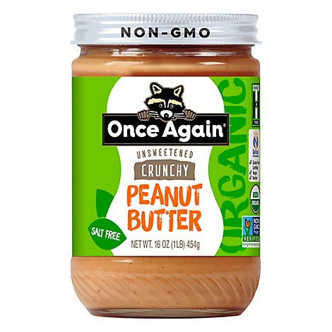 Once Again Peanut Butter Organic No Salt Added Crunchy - 16 Oz