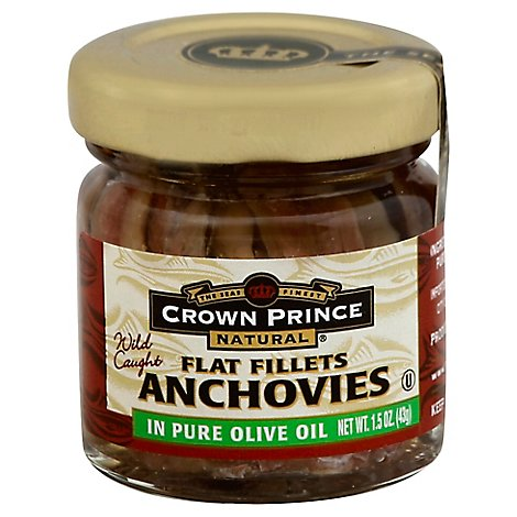 Crown Prince Anchovies Flat Fillets In Pure Olive Oil - 1.5 Oz
