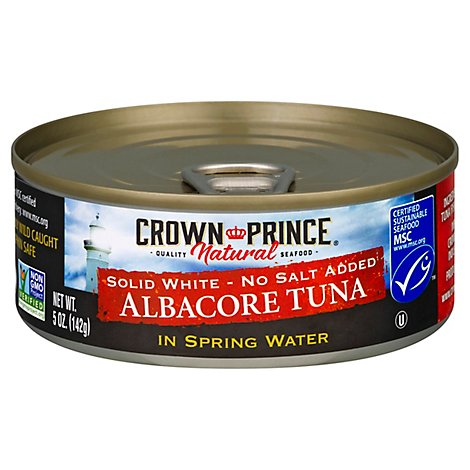 Crown Prince Tuna Albacore Solid White No Salt Added In Spring Water - 5 Oz