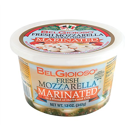 Belgioioso Mozzarella Fresh Ball Ciliegine Marinated Cup - 12 Oz
