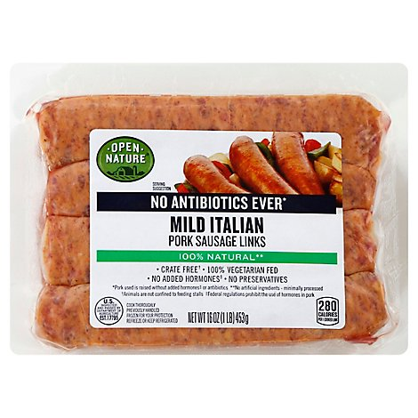 Open Nature Sausage Pork Mild Italian Links - 16 Oz