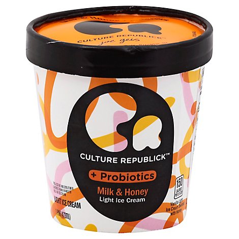 Culture Republick Ice Cream Light + Probiotics Milk & Honey 1 Pint - 473 Ml