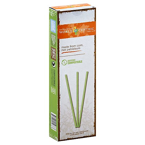 World Centric Straw Compostable Made From Corn - 50 Count