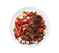 Plated Steak Stir-Fry With Bell Peppers And Basil - 34 Oz