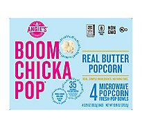 Angies BOOMCHICKAPOP Popcorn Microwave Real Butter - 4-3.29 Oz