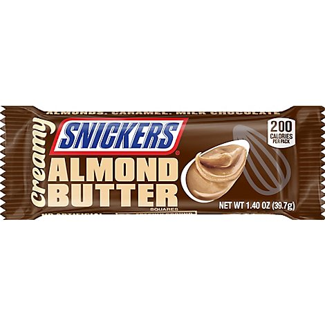 Snickers Creamy Almond Butter Square Candy Bars Single Size 1.4 Oz