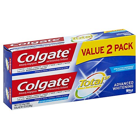 Colgate Total Advanced Whitening Toothpaste Twin Pack - 2-5.1 Oz