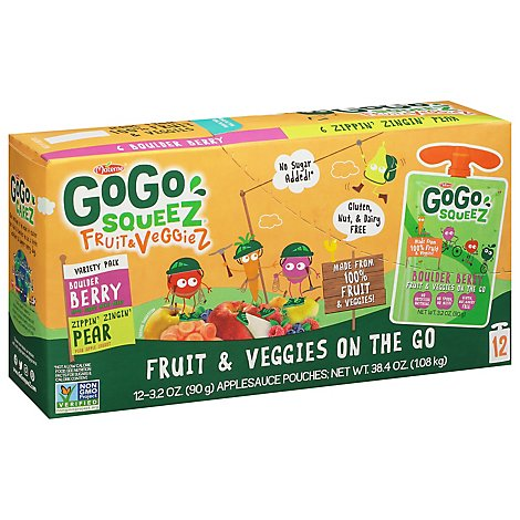 GoGo squeeZ Fruit & VeggieZ Variety Pack Pear Berry - 12 - 3.2 Oz