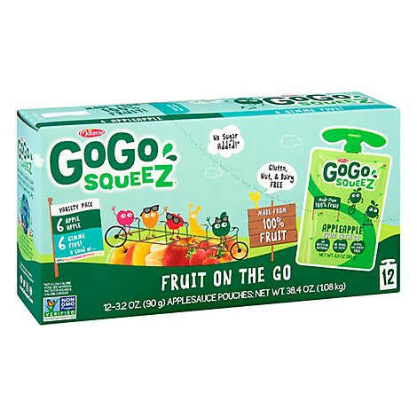GoGo squeeZ Applesauce Variety Pack Apple Apple Gimme Five! - 12-3.2 Oz