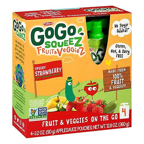GoGo squeeZ Fruit & VeggieZ Apple Zucchini Strawberry - 4 - 3.2 Oz
