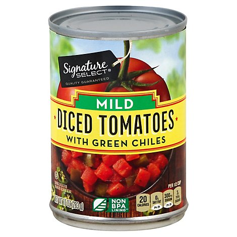Signature SELECT Tomatoes Diced With Green Chiles Mild - 10 Oz
