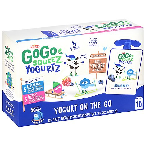 GoGo squeeZ YogurtZ, Variety Pack Blueberry Berry - 10 - 3 Oz