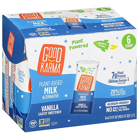 Good Karma Flaxmilk + Protein Lightly Sweetened Vanilla - 6-6.75 Fl. Oz.