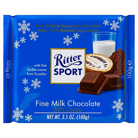 Ritter Sport Milk Chocolate With Arriba Cocoa From Ecuador Holiday - 3.5 Oz