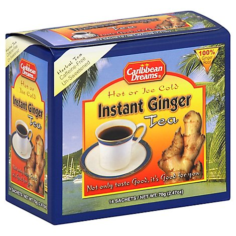 Caribbean Dreams Herbal Tea Instant Ginger Unsweetened 14 Count - 2.47 Oz