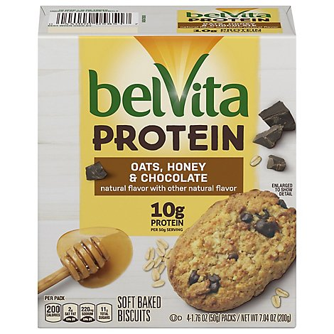belVita Protein Biscuits Soft Baked Oats Honey & Chocolate 4 Count - 7.04 Oz