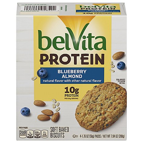 belVita Protein Biscuits Soft Baked Blueberry Almond 4 Count - 7.04 Oz