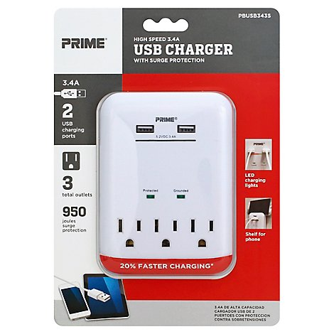 Prime Charger With Surge Protection 2 USB Port and 3 Outlet 3.4A - Each