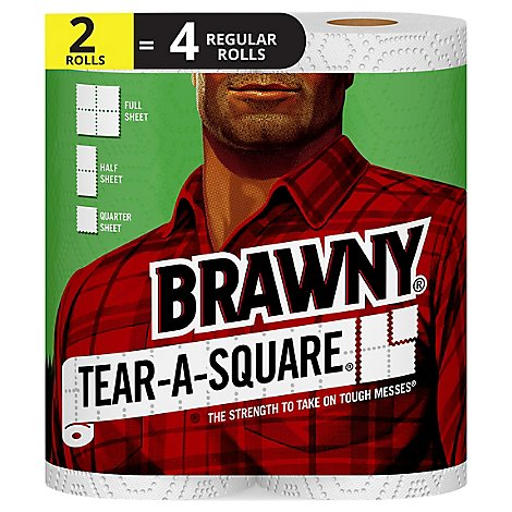 Brawny paper Towels Tear A Square Regular Roll White - 2 Roll