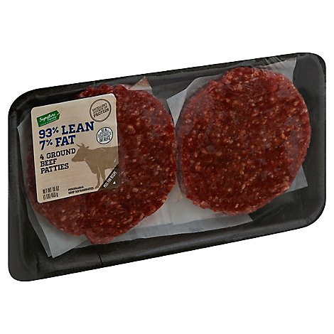 Signature Farms Meat 93% Lean Ground Beef Patty 7% Fat - 1 Lb