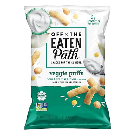 Off The Eaten Path Veggie Puffs Sour Cream & Onion Plastic Bag - 4.5 Oz