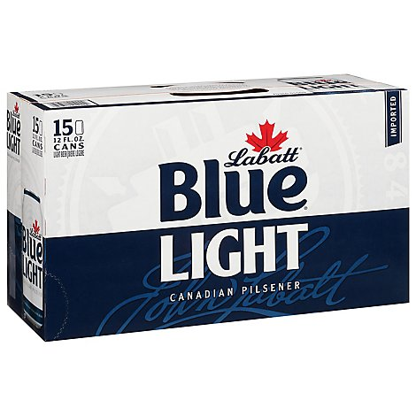 Labatt Blue Beer Canadian Pilsner Light Cans - 15-12 Fl. Oz.