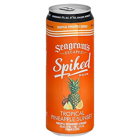 Seagrams Escapes Spiked Malt Beverage Tropical Pineapple Sunset Can - 23.5 Fl. Oz.