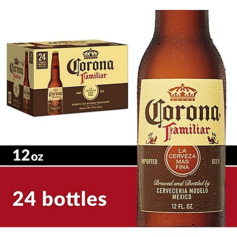 Corona Familiar Beer Mexican Lager 4.8% ABV Bottle - 24-12 Fl. Oz.