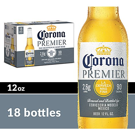 Corona Premier Beer Light Mexican Lager 4.0% ABV Bottle - 18-12 Fl. Oz.