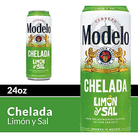 Modelo Chelada Beer Limon y Sal Mexican Import Flavored 3.5% ABV Cans - 24 Fl. Oz.
