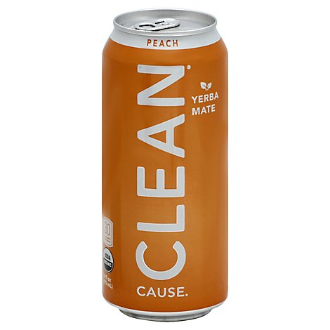 CLEAN Cause Sparkling Yerba Mate Peach - 16 Fl. Oz.