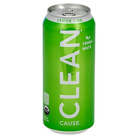 CLEAN Cause Sparkling Yerba Mate Lemon Lime - 16 Fl. Oz.