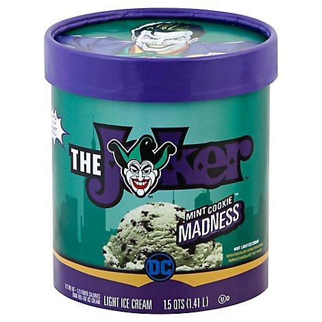 DC Ice Cream Light The Joker Mint Cookie Madness 1.5 Quart - 1.41 Liter