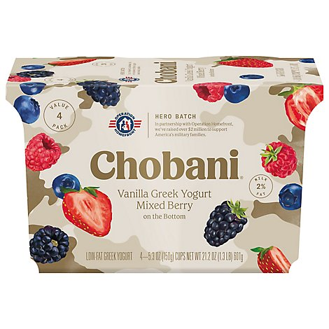 Chobani Yogurt Greek Low Fat Vanilla On The Bottom Mixed Berry - 4-5.3 Oz