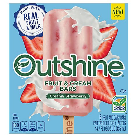 Outshine Fruit & Dairy Bars Creamy Strawberry 6 Count - 14.7 Fl. Oz.
